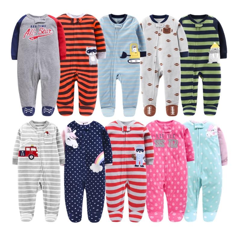 Теплый флисовый Детский комбинезон с мультяшным единорогом, Пижама для младенцев, одежда для сна для детей от 0/3 до 12 месяцев, Осень-зима 2019