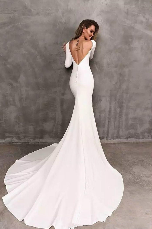 wedding : 2019 Vintage Berta Mermaid Wedding Dresses Stretch Satin Long Sleeve Backless Bridal Gowns Vestidos De Novia Wedding Dress