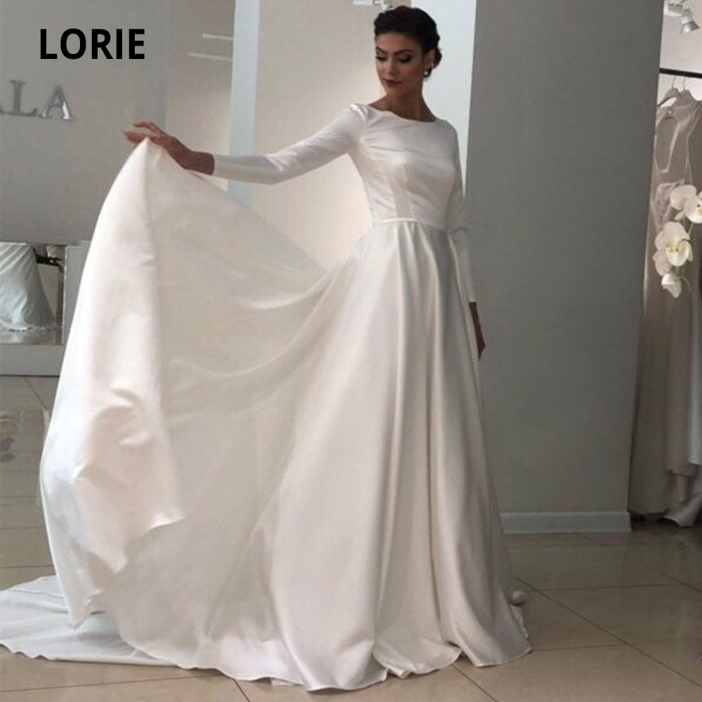 LORIE Long Sleeve Satin Wedding Dresses 2019 Simple O-neck A-line Withe Ivory Bridal Gowns With Long Train Plus Size