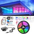 Светодиодная ленсветильник с Bluetooth 5050 SMD, гибкая Водонепроницаемая светодиодная ленсветильник RGB, 20 м, 5 м, 10 м, цветная лента с управлением 12 В...