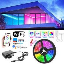 Luzes de tira conduzidas 20m bluetooth rgb 5050 smd fita flexível impermeável rgb led luz 5m 10m colorido fita diodo dc 12v controle