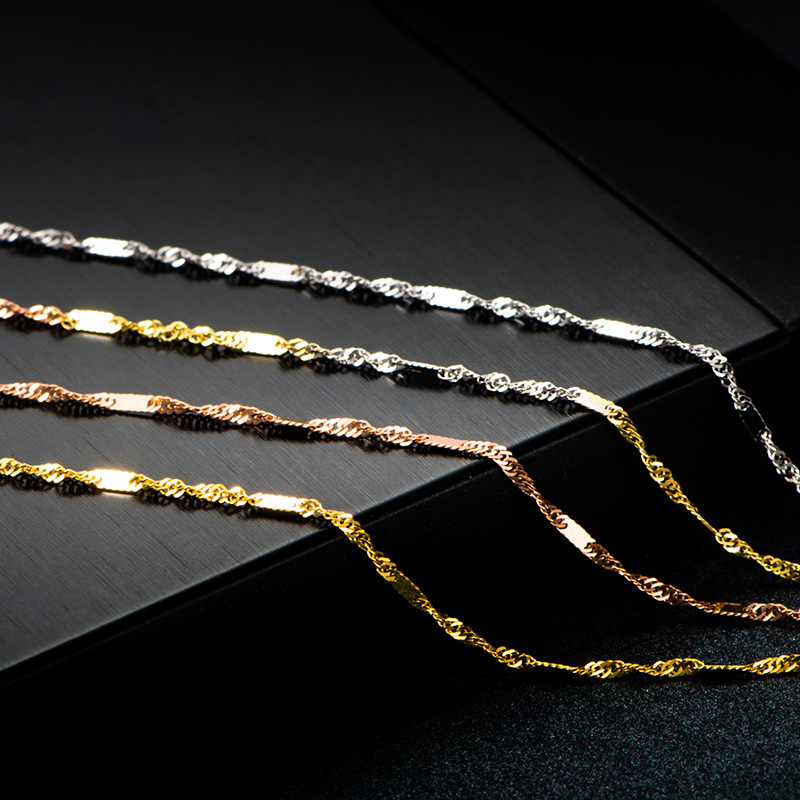"""Pure Solid 18K Gold Necklace Women Luck Special Singapore Link Chain 1mmW 16"""" 18"""" (18K Yellow / Rose / White / Multi-tone Gold) 4"""