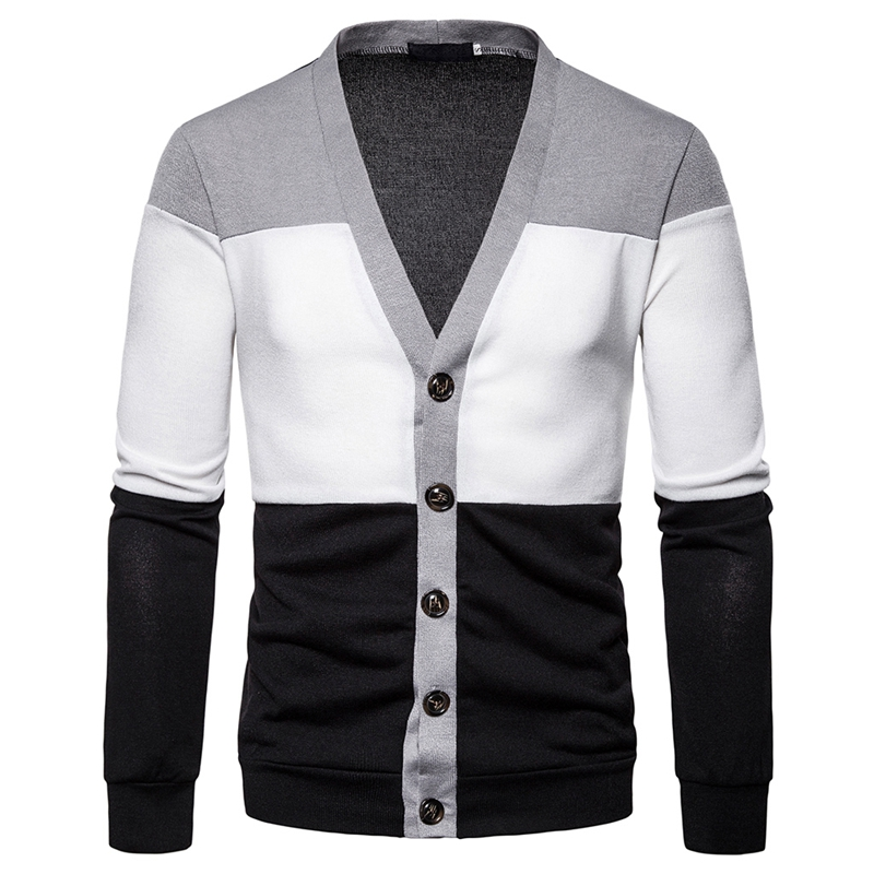 MJARTORIA 2019 New Cardigan Men's Knitted Sweater Casual Patchwork Jacket Three-color Stitching Deep V Men's Knitted Sweater