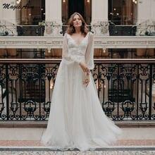 Волшебная ость Изящные 2021 Свадебные платья с рукавами фонариками;