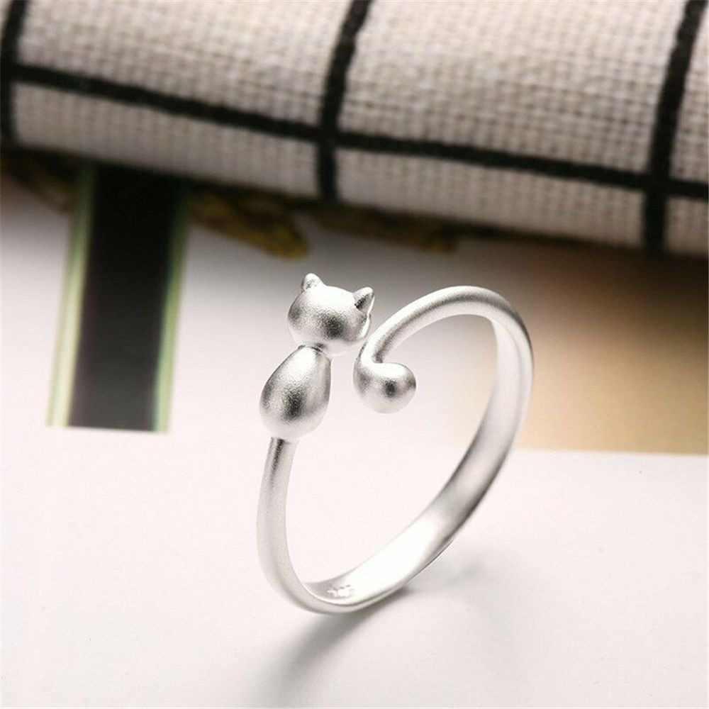 2019 ใหม่ร้อนยอดนิยมน่ารักน่ารักสีทองน่ารักแหวนแมวสัตว์แหวนผู้หญิงเครื่องประดับ Charm ของขวัญงานแต่งงาน