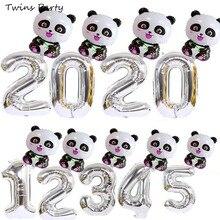Twins Party 40Inch 2Pcs Black Cartoon Panda Foil Balloon Birthday Decorations Kids  safari Jungle Theme Baloon