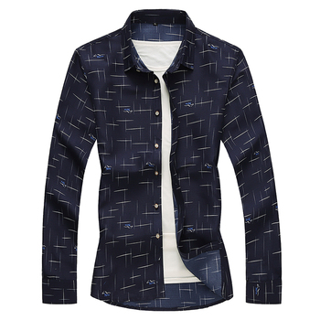 New Mens Shirts Fashion Dress Print Men Shirt Long Sleeve Casual Trend Business Formal Hawaiian