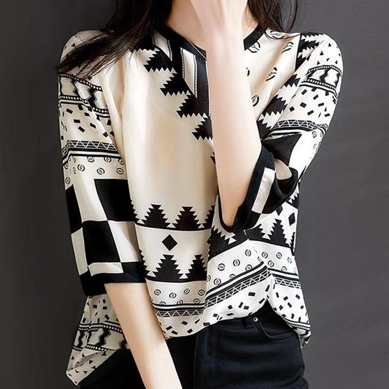 European-Style Silk Shirt Women's 2020 Spring and Summer  Fashion Long-Sleeved Design Sense Non-Mainstream Garden Collar Shirt