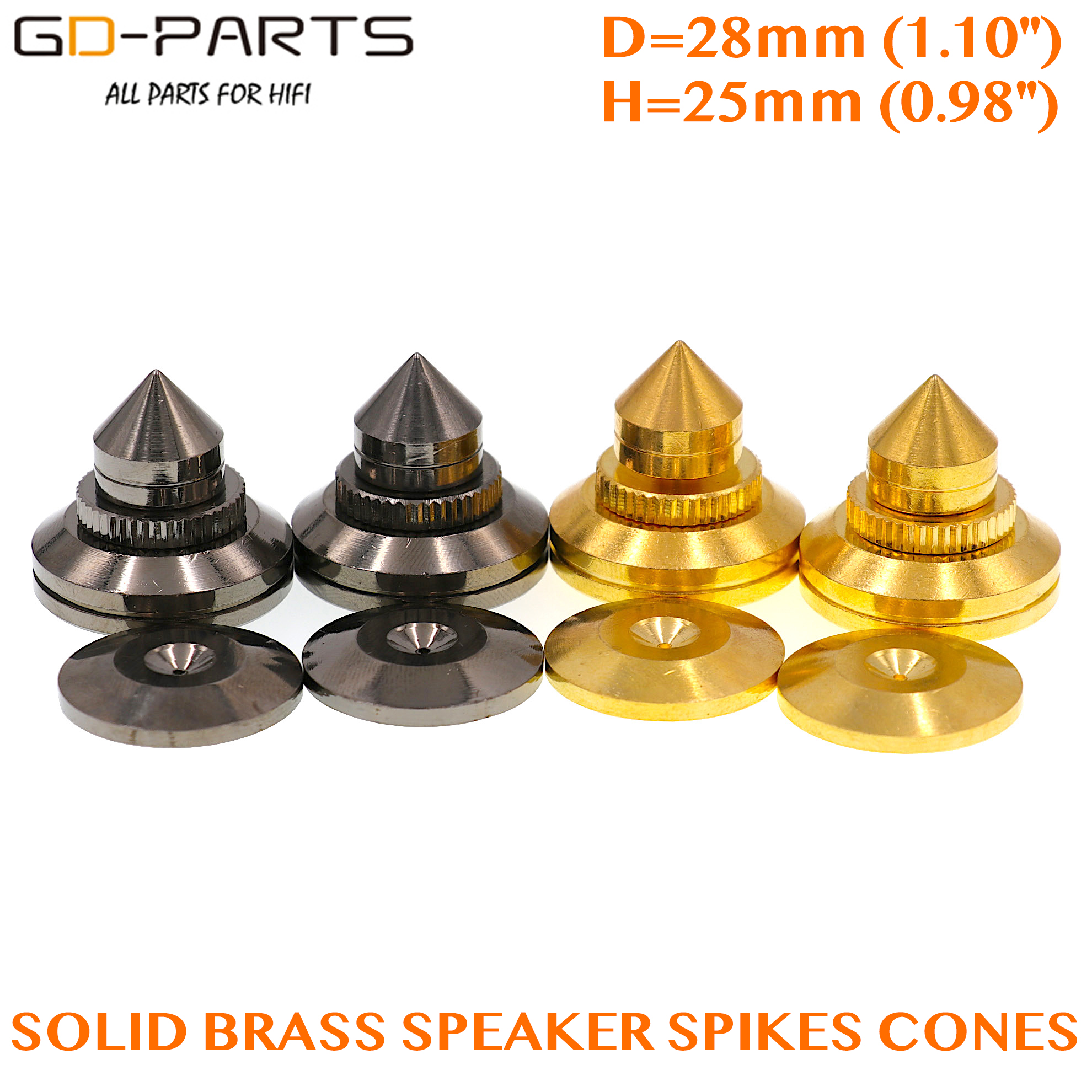28x25mm Brass Speaker AMP Isolation Spikes Vibration Cone Hifi Turntable AMP CD DAC Recorder Stand Feet Pads Floor Base Set Of 4