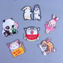 Pulaqi Cartoon Cat Rabbit Patch Iron On Pacthes For Clothing Cute Animal Thermo Stickers Clothes Kids T-Shirt H