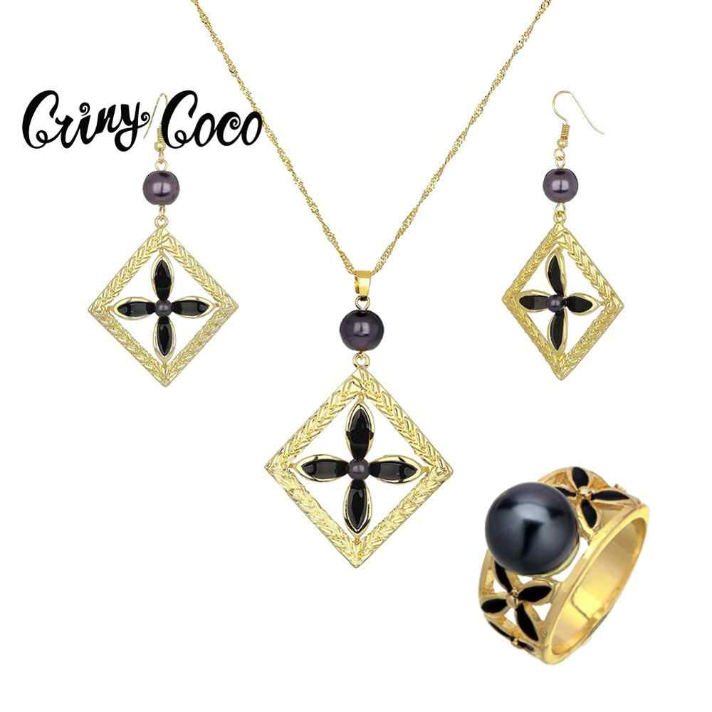 Cring Coco Hawaii Polynesian Emas Perhiasan Set Wanita Trendi Drop Anting-Anting dan Kalung Alloy Cincin Perhiasan Set 2020 Hot