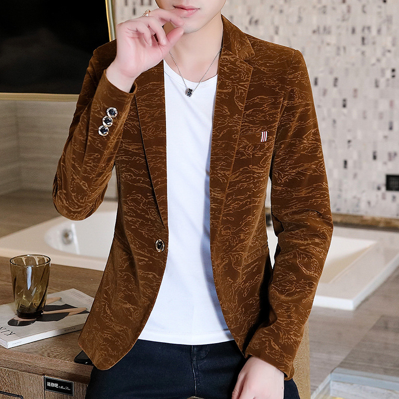 New 2019 Young Men Handsome Tide Wash And Wear A Suit Of Cultivate One's Morality Leisure Velveteen Fashion Suits