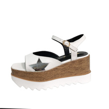 Women Shoes High Heel 8cm Square Toe Sandals Summer Platform Sandals Wedges Heels Casual Women Creepers Sandals Femme Shoes aiykazysdl gladiator roman sandals metallic faux leather strappy creepers ultra very high heel platform shoes square thick heels