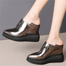 Punk Goth Trainers Women Genuine Leather Pointed Toe High Heel Evening Party Platform Pumps Shoes Female Wedges Fashion Sneakers outdoor creepers women cow leather wedges high heel party pumps punk goth tennis shoes round toe platform oxfords trainers shoes