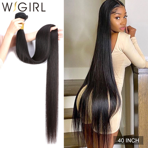 Wigirl Straight 28 30 32 40 Inch Virgin Remy Brazilian Hair Weave Human Hair Bundles Natural Color 100% Human Hair Extension(China)