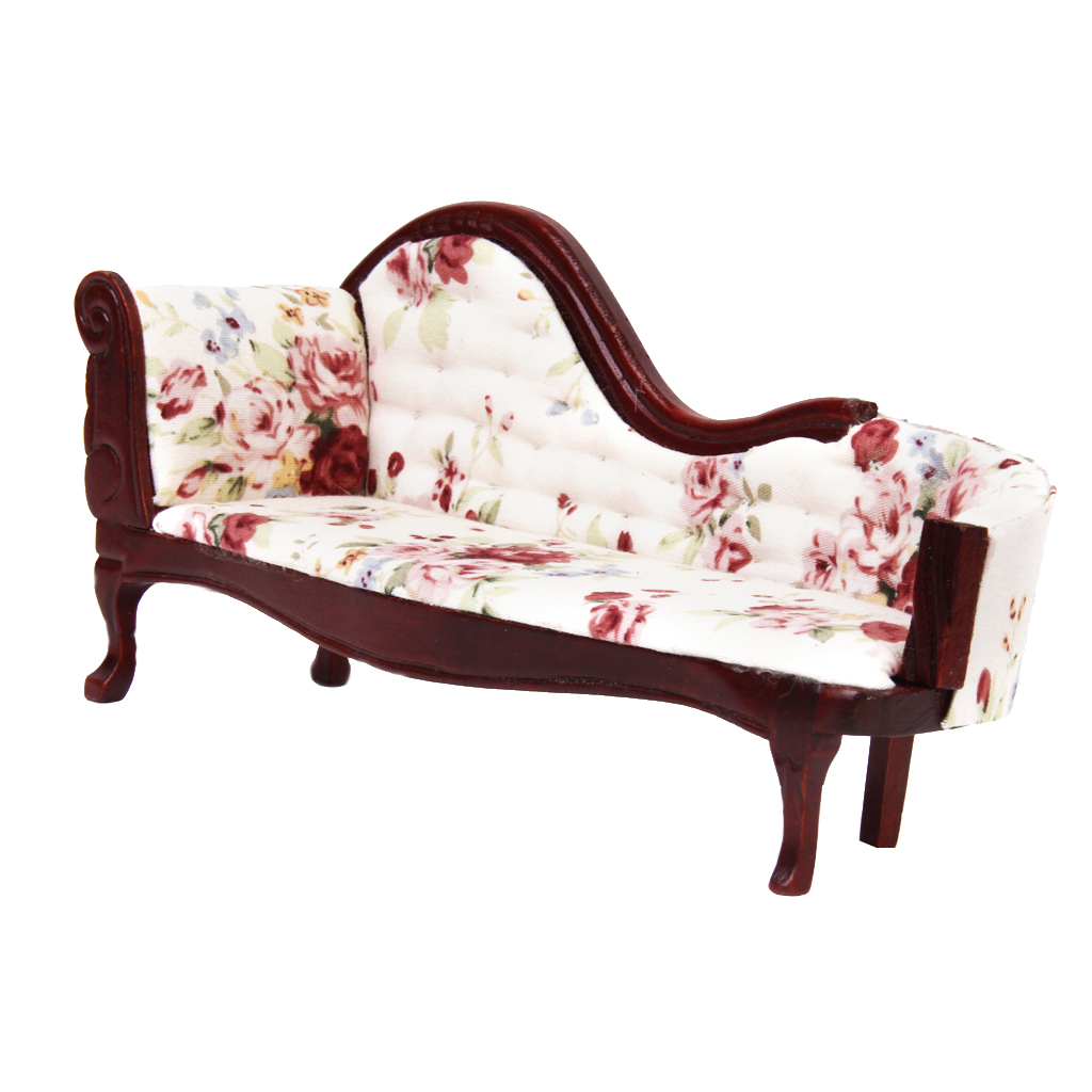 Image 4 - Dollhouse European Floral Recliner Miniatures, Wooden Upholstered Settee Armchair, 1/12 Dollhouse Life Scene OrnamentFurniture Toys   -