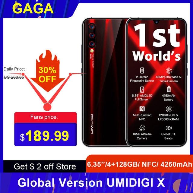 Küresel sürüm UMIDIGI X 6.35 inç AMOLED 4G 128GB akıllı telefon Android 9.0 Helio P60 48MP 4150mAh parmak izi NFC 4G cep telefonu