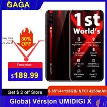 Umidigi teléfono inteligente X versión Global, teléfono móvil 4G con Pantalla AMOLED de 6,35 pulgadas, 4 GB RAM, ROM 128GB, Android 9,0, procesador Helio P60, cámara de 48,0mp, batería de 4150mAh, reconocimiento de huella dactilar, soporta NFC