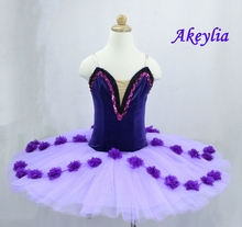 Purple ballet tutu flower fariy professional lilac female  Classical for stage performance pancake
