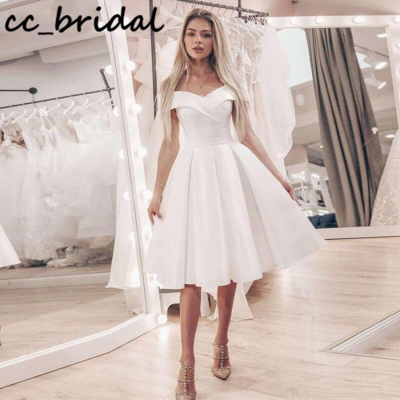 Sexy Off Shoulder Short Wedding Dresses 2020 Elegant Satin Boho Bride Dress Cheap Backless vestido casamento praia