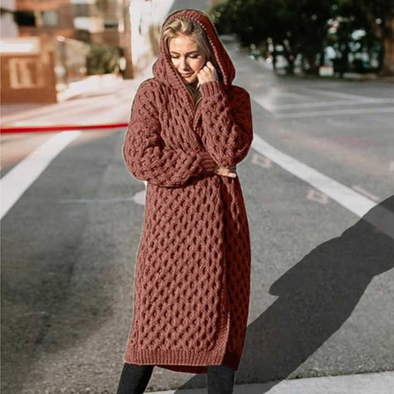 LOOZYKIT 女性のニットセーターの冬の厚手暖かいフード付きロングセーター女性長袖ヴィンテージセーター生き抜くプラスサイズコート