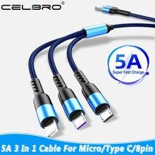 5a 3 em 1 carregador de cabo usb carregamento rápido micro tipo c cabo para huawei p40 p30 samsung m31s nota 20 ultra xiaomi cabo de fio