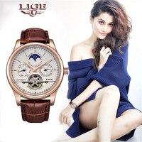 Lige marca feminina relógio automático relógio mecânico tourbillon esporte relógio de couro casual relógio de pulso à prova dwaterproof água relojes mujer + caixa|Relógios femininos| |  -