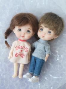 Image 3 - חמוד פנים מיני בובת ראש עבור 1/8 16cm בובת חיוך עם שן ללא Makup ראש חליפת עבור ob11 גוף