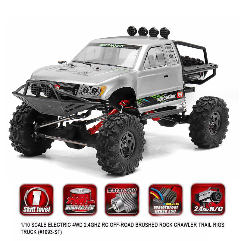 Remo Hobby 1093-ST 1/10 2.4G 4WD Waterproof Brushed Rc Car Off-road Rock Crawler Trail Rigs Truck RTR Toy