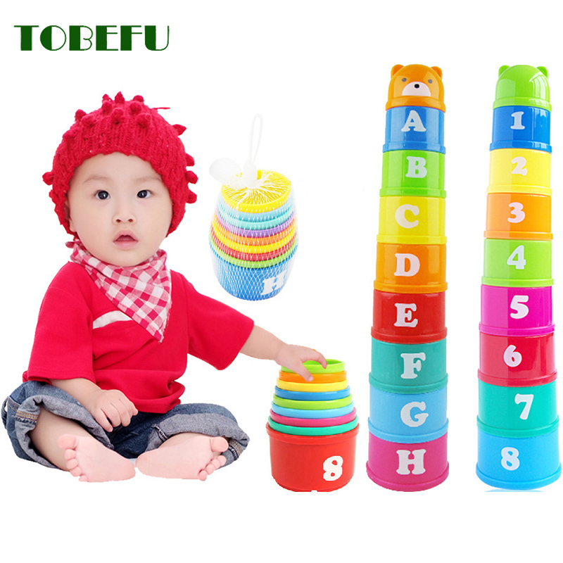 8pcs Baby Educational Toys 6 Month Figures Letters Foldind Stack Cup Tower Children Early Intelligence Alphabet Toy For Children