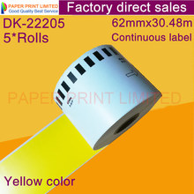 Label Dk-22205 Continuous Yellow Green Compatible for Printer DK44605 Generic