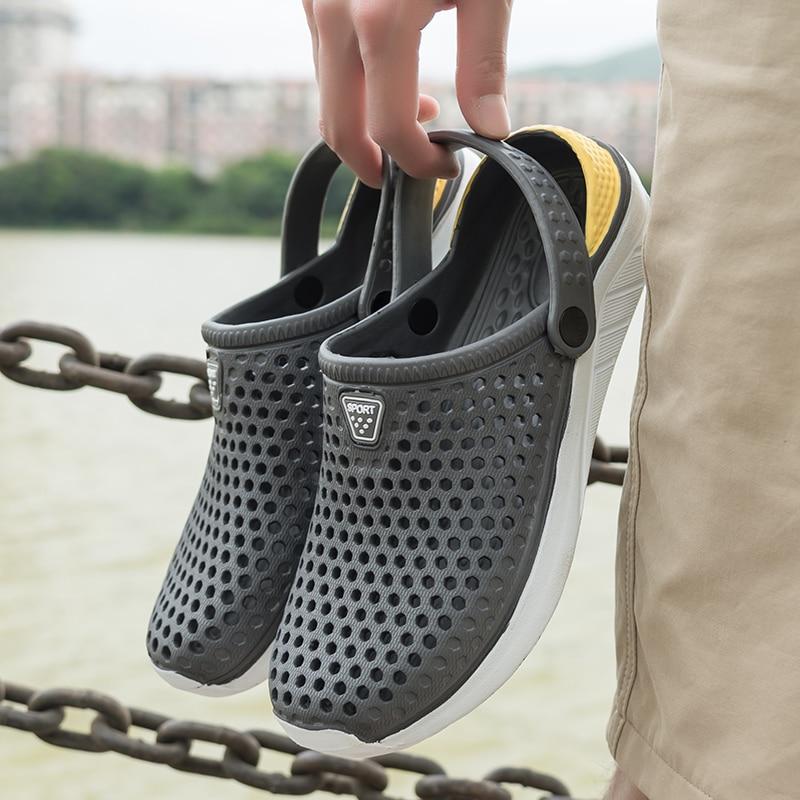 Gray-Unisex Summer Beach Sandals Slipper Flat Anti-Slip