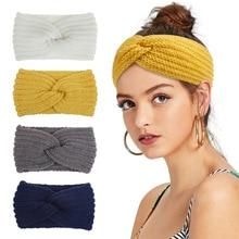 Ruoshui Woman Wool Knitted Headband Solid Elastic Hairband Winter Hair Accessories Ornaments Turban Bandage Femme Headwear