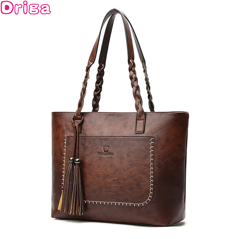 Driga Fashion  Large Capacity Causal Shoulder Bags For Women 2019 Fall Leather Fringe Purse Handbags Retro Tassel Shopper Tote