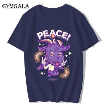 100% cotton anime cartoon Geng ghost printed men's T-shirt summer cotton short-sleeved T-shirt fashion tops tee men's clothing f - XQ-131navy blue, Asian size XL