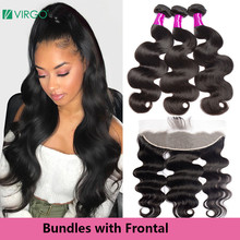 Virgo Brazilian Hair Weave Bundles Human Hair Bundles with Frontal Body Wave Front with Bundles Pre Plucked Human Hair remy