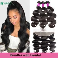 Virgo бразильские волосы, волнистые пряди, человеческие волосы, пряди с фронтальной волной, фронтальная пряди, предварительно выщипанные Человеческие волосы remy