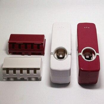 2 unids/set de soporte de cepillo de dientes Set dispensador automático de pasta de dientes soporte de pared herramientas de baño accesorios de baño