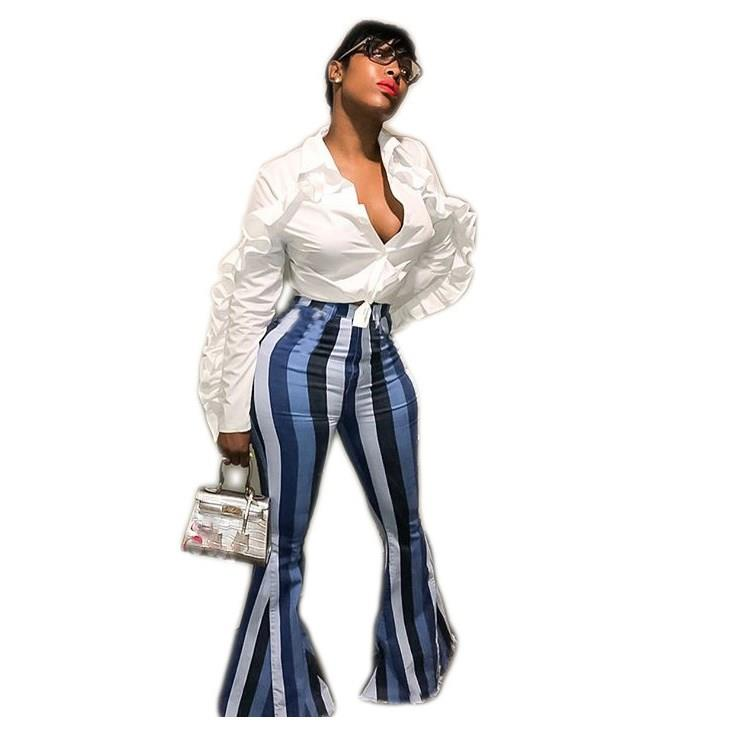 Casual Stripe   Wide     Leg     Pants   Skinny Women Pleated Palazzo   Pants   Long Flare Trousers
