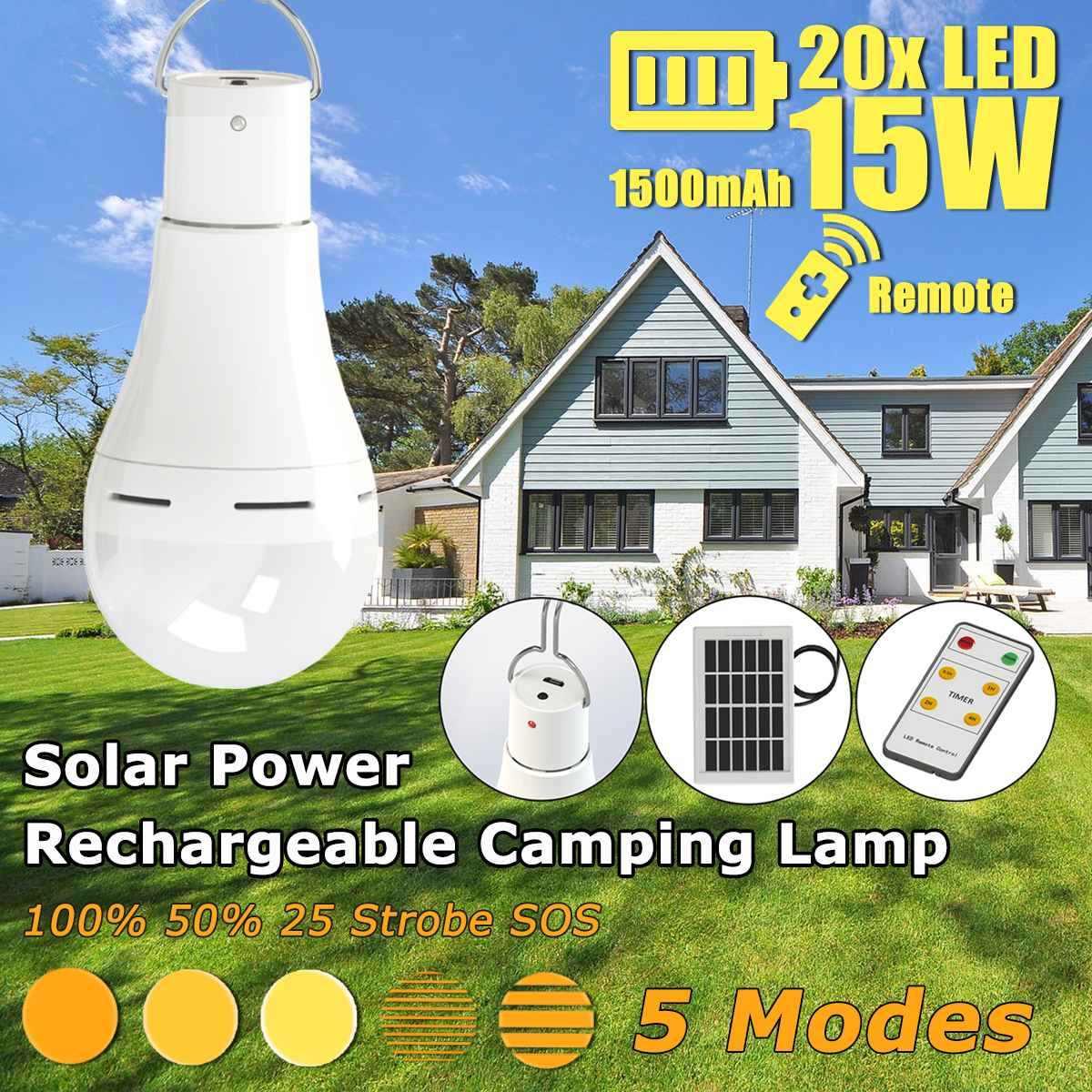 15 W/20 W Năng lượng mặt trời Sạc USB Cắm Trại Ánh Sáng 5 Chế Độ W/Bảng Điều Khiển Năng Lượng Mặt Trời 3 mét Cáp & Remote Đèn Năng Lượng Mặt Trời