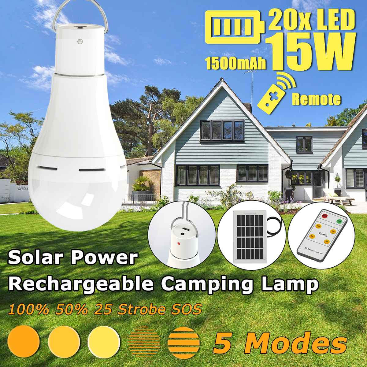 15W/20W Solar Power USB Rechargeable Camping Light Bulb 5-Modes W/ Solar Panel 3 Meters  Cable & Remote Solar Lamps