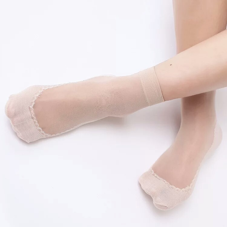 WOMEN'S Silk Stockings Short Socks Spring Summer Velvet plus Cotton End of Anti-slip Foot Massage Socks Stink Prevention Hosiery