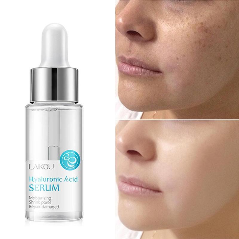 Hyaluronic Acid Shrink Pore Face Serum Moisturizing Whitening Face Cream Dry Skin Care 15ml
