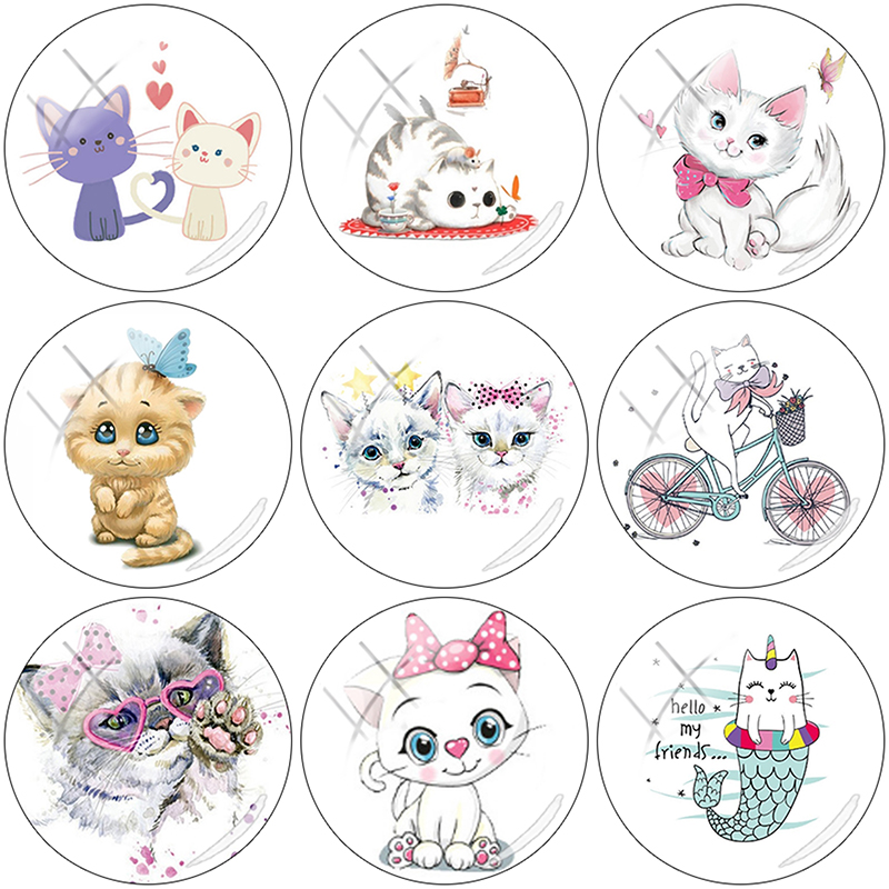TAFREE Beauty lovely Christmas cat 12/15//16/18//20//25 mm Glass Cabochon Dome Flat Back 2019 NEW DIY Jewelry Making CAT01(China)