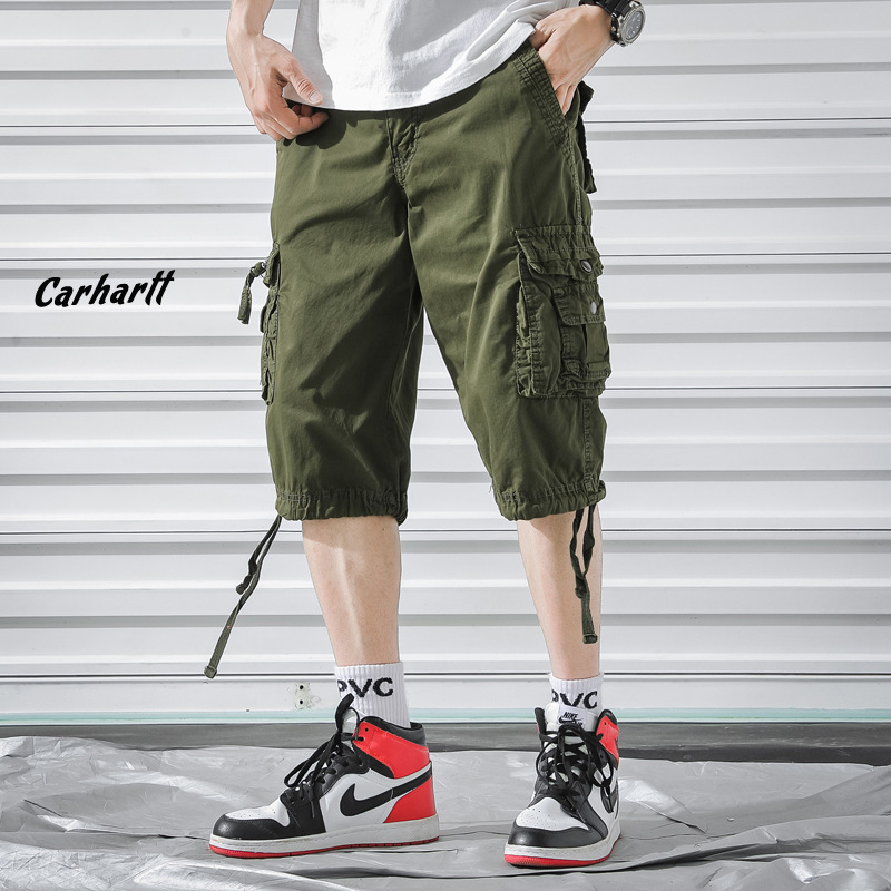 Hot Selling 2019 New Style Summer Men's Multi-pockets Workwear Shorts Solid Color Loose-Fit Outdoor Shorts