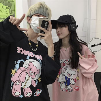 Korean Couples Shirt Women's Clothing & Accessories Tops & Tees T-Shirts Men's Clothing & Accessories Men's Tops & Tees Men's T-Shirts cb5feb1b7314637725a2e7: Black|Pink