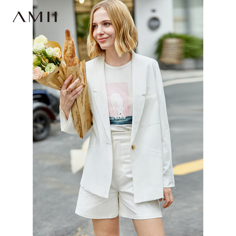 Amii Minimalism Spring White Suit Coat Women Causal Lapel One Button Coat 11960053