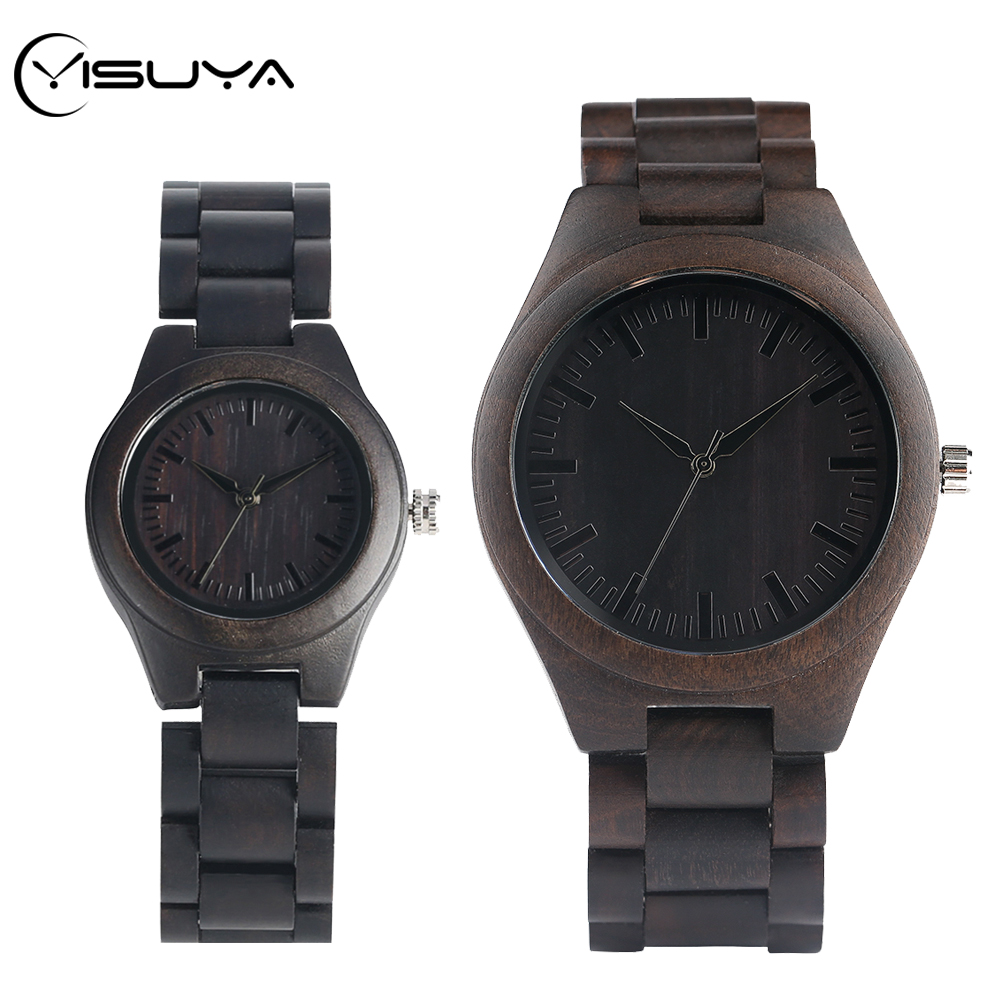YISUYA Minimalist Ebony Wood Men's Simple Black Full Wooden Bangle Quartz Watch High Graded Couple Gifts Clocks For Men Women