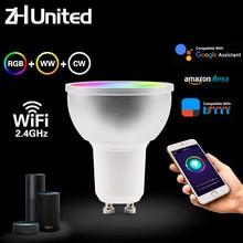 GU10 5W inteligentne WiFi żarówka lampa RGB + WW + CW wsparcie Alexa/Google Home/IFTTT AC110V-240V możliwość przyciemniania zdalnego sterowania głosem