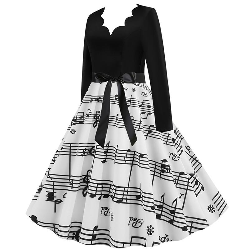 Women Long Sleeve Winter Vintage Dresses Sexy Black Music Note Print V-neck Rockabilly Pin up Party Dress Vestidos Plus size 510